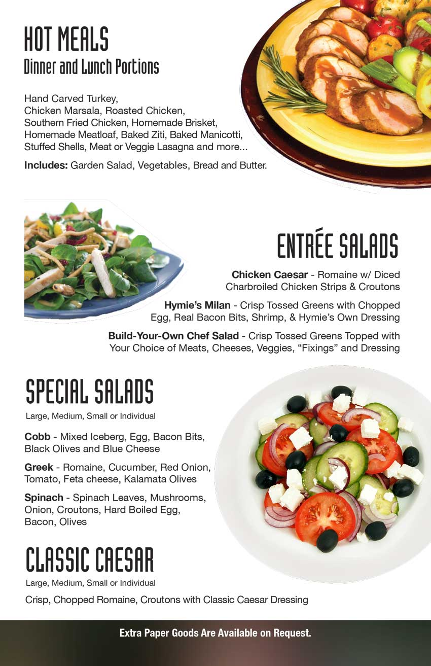 Barson's In-Flight Menu - Hot Breakfast, Sandwiches or Dinners, We do it all!